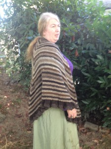 Side view of the River Run shawl