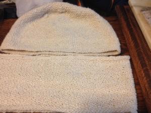 Handspun Flora's cap and cowl