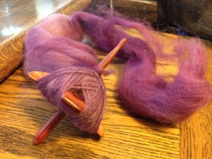 Midge and wine colored fiber